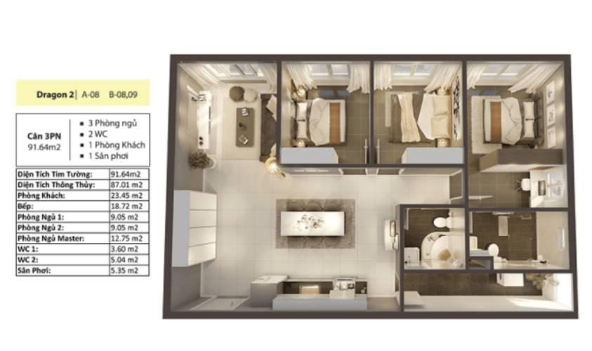 Layout căn hộ Topaz Elite, Quận 8 Căn hộ Topaz Elite tầng 12 diện tích 92m2, bàn giao không có nội thất.