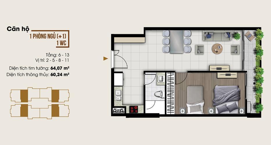 Căn hộ Ascent Lakeside tầng 8 diện tích 64m2, nội thất cơ bản.