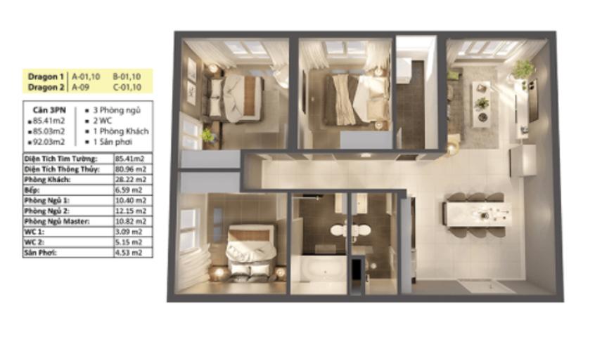 Căn hộ Topaz Elite diện tích 92m2 có 3 phòng ngủ, không có nội thất.