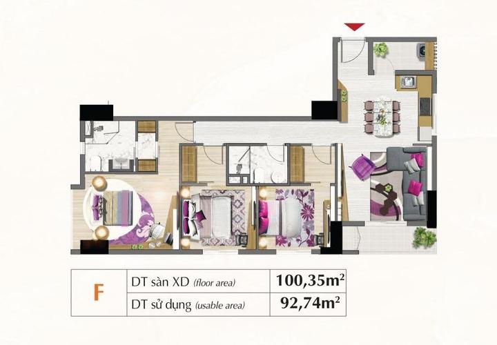 Mặt bằng căn hộ Căn hộ Saigon South Residence tầng 5 có 3 phòng ngủ, đầy đủ tiện ích.