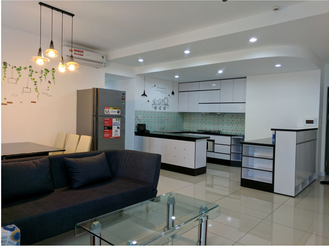 Phòng khách căn hộ Happy Valley Căn hộ Happy Valley tầng thấp diện tích 135m2, đầy đủ nội thất.