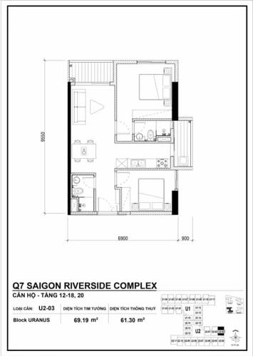 Căn hộ Q7 Saigon Riverside tầng 26 diện tích 69.19m2, nội thất cơ bản.