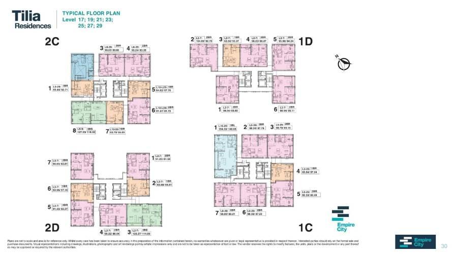 Mặt bằng chung căn hộ Empire City, Quận 2 Căn hộ Empire City tầng 21 có 3 phòng ngủ, view đón gió thoáng mát.