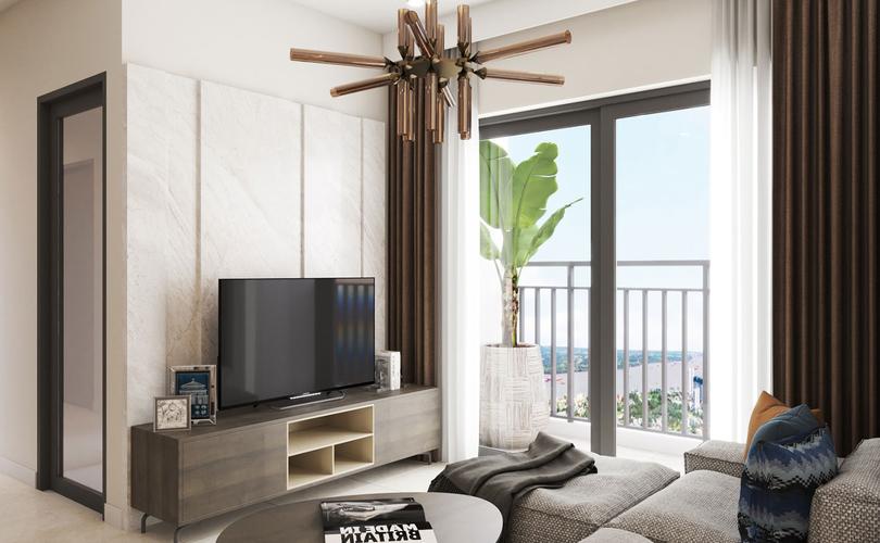 Nhà mẫu Q7 Boulevard, Quận 7 Căn hộ Q7 Boulevard tầng 20 thiết kế hiện đại, nội thất cơ bản.