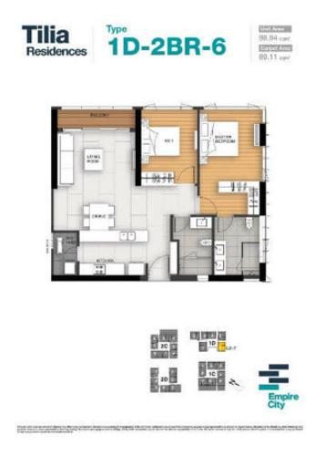 Căn hộ có 2 phòng ngủ Empire City tầng 3, bàn giao nội thất cơ bản.