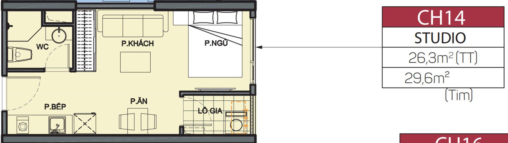 Studio Vinhomes Grand Park tầng 4 diện tishc 29.6m2, không có nội thất.
