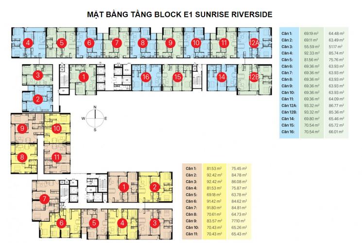 Mặt bằng block K và I Căn hộ tầng 20 Sunrise Riverside không có nội thất, view thoáng gió
