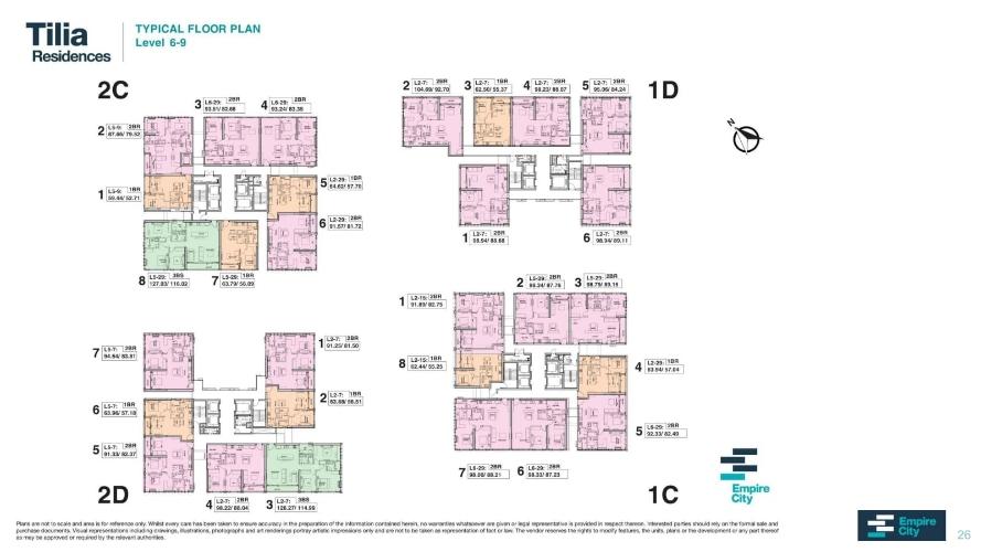 Mặt bằng chung căn hộ Empire City, Quận 2 Căn hộ hạng sang Empire City tầng 6 diện tích 98.33m2, đầy đủ nội thất.