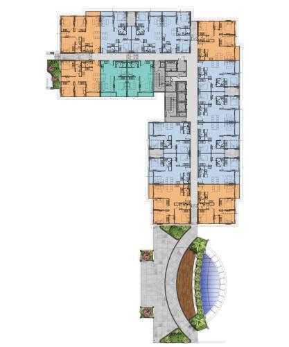 Layout tầng căn hộ Lovera Vista, Huyện Bình Chánh Căn hộ Lovera Vista cửa hướng Tây Bắc, nội thất cơ bản.