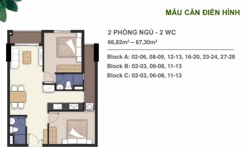 Layout căn hộ Lavita Charm, Quận Thủ Đức Căn hộ Lavita Charm tầng 11 diện tích 67.3m2, nội thất cơ bản.