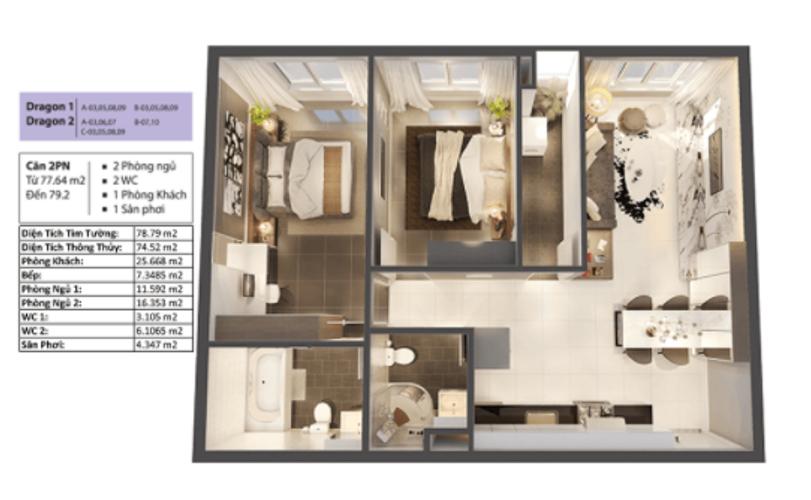 Căn hộ Topaz Elite tầng 17 thiết kế 2 phòng ngủ, không có nội thất.