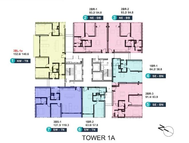 Mặt bằng chung căn hộ Empire City, Quận 2 Căn hộ hạng sang Empire City tầng 7 có 2 phòng ngủ, nội thất cơ bản.