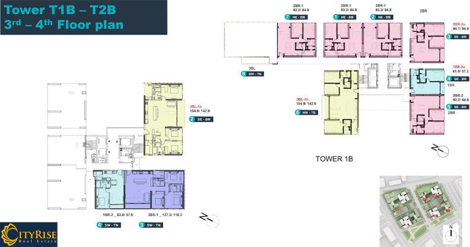 Layout tầng căn hộ Empire City, Quận 2 Căn hộ tầng 3 Empire City có 1 phòng ngủ, đầy đủ nội thất và tiện ích.