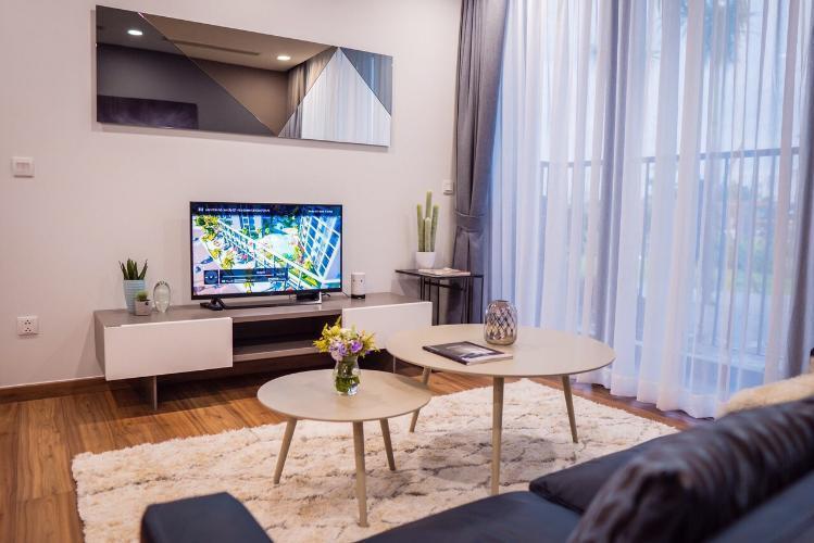Phòng khách căn hộ Eco Green Saigon, Quận 7 Căn hộ Eco Green Saigon bàn giao nội thất cơ bản, view thoáng mát.