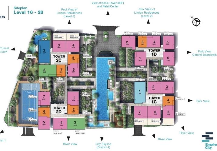 Mặt bằng căn hộ Empire City, Quận 2 Căn hộ Empire City tầng 20 thiết kế 2 phòng ngủ, đầy đủ nội thất.
