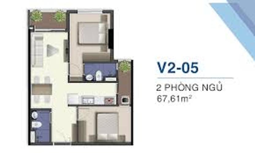 Căn hộ Q7 Saigon Boulevard tầng 15 thiết kế 2 phòng ngủ, nội thất cơ bản.