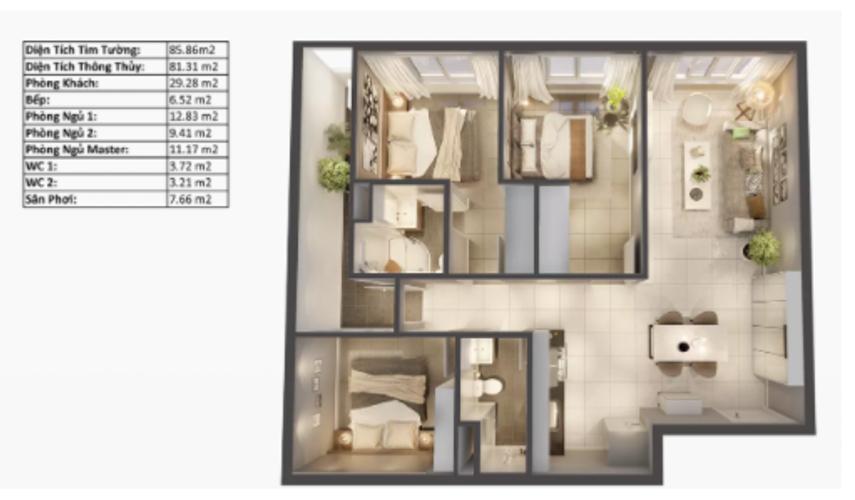 Layout căn hộ Topaz Elite, Quận 8 Căn hộ Topaz Elite tầng 19 có 3 phòng ngủ, bàn giao không nội thất.