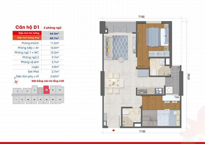 Căn hộ West Intela tầng 13 thoáng mát, nội thất cơ bản.