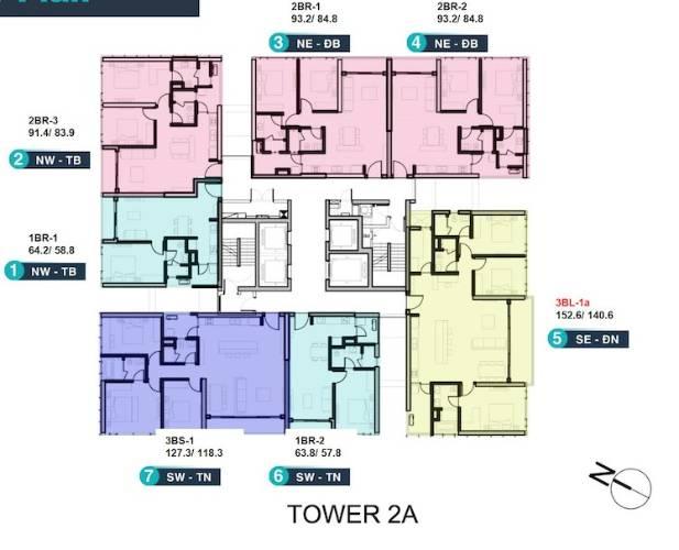 Mặt bằng chung căn hộ Empire City, Quận 2 Căn hộ Empire City tầng 6 cửa hướng Đông Nam, đầy đủ nội thất.