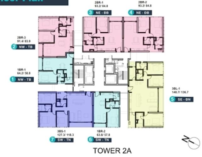 Layout căn hộ Empire City, Quận 2 Căn hộ Empire City tầng 9 thiết kế sang trọng, đầy đủ nội thất và tiện ích.
