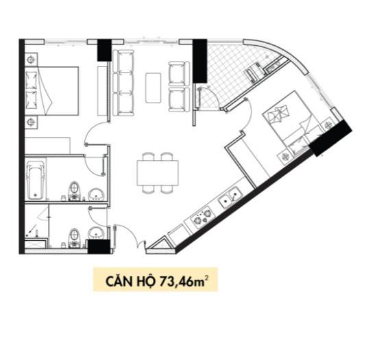Layout căn hộ Topaz Elite, Quận 8 Căn hộ Topaz Elite tầng 25 thiết kế hiện đại, nội thất cơ bản.