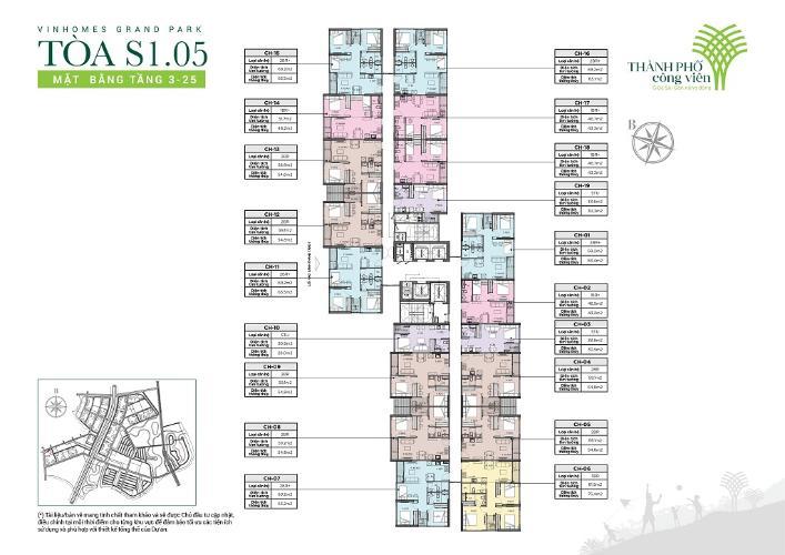 layout tháp S1.05 dự án Vinhomes Grand park quận9 Căn hộ Vinhomes Grand Park tầng cao, view thoáng mát.