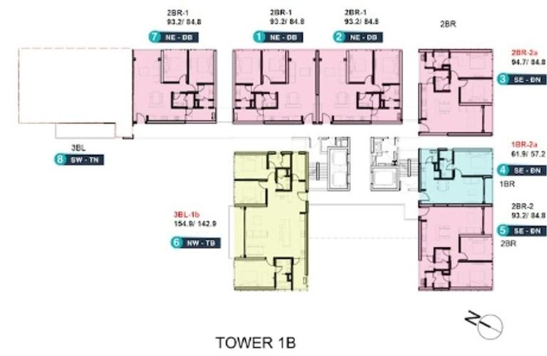 Layout căn hộ Empire City, Quận 2 Căn hộ cao cấp Empire City tầng 6 diện tích 94.7m2, nội thất cơ bản.