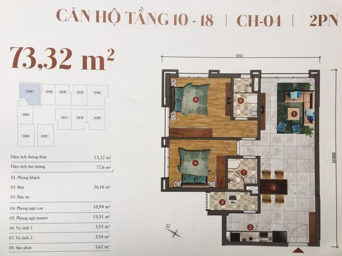 Căn hộ ST Moritz tầng 12 thiết kế 2 phòng ngủ, bàn giao nội thất cơ bản.