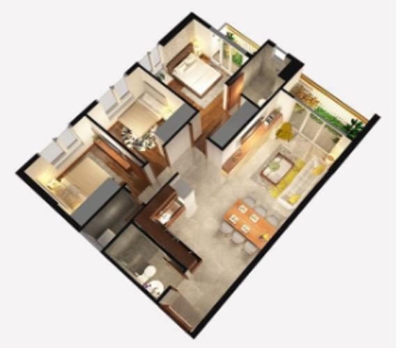 Layout căn hộ Opal Boulevard, Huyện Dĩ An Căn hộ Opal Boulevard tầng 10 gồm 3 phòng ngủ, nội thất cơ bản.