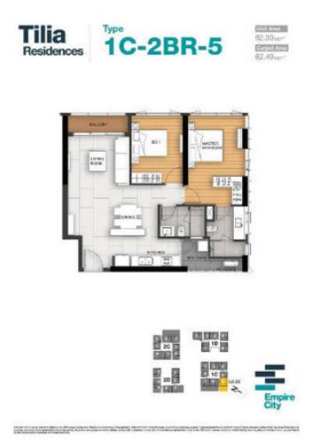 Căn hộ tầng 26 Empire City diện tích 92.33m2, cửa hướng Tây Bắc.