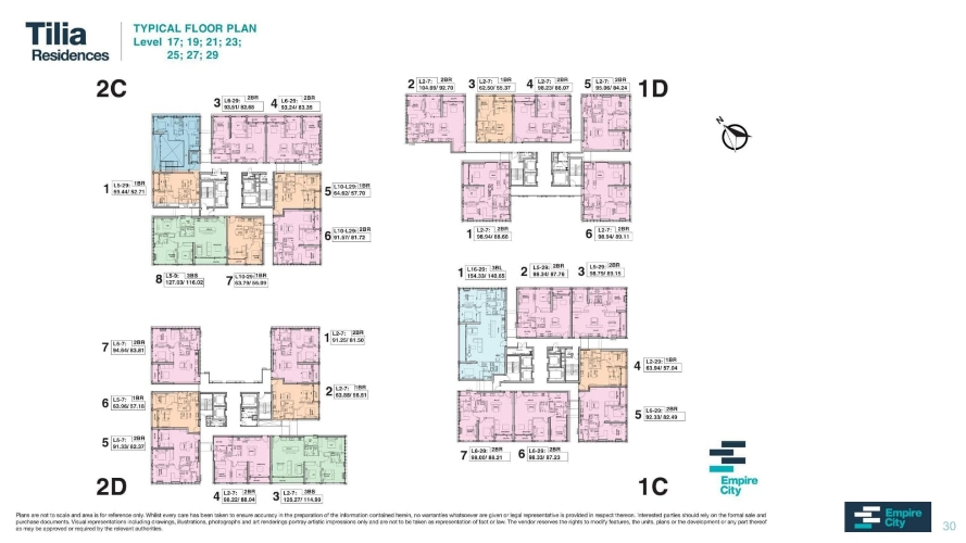 Mặt bằng tầng căn hộ Empire City, Quận 2 Căn hộ Empire City tầng 21 diện tích 63.79m2, đầy đủ nội thất cao cấp.