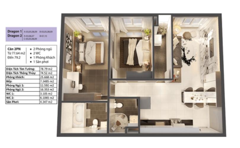 Layout căn hộ Topaz Elite, Quận 8 Căn hộ Topaz Elite tầng 12A có 2 phòng ngủ, không có nội thất.