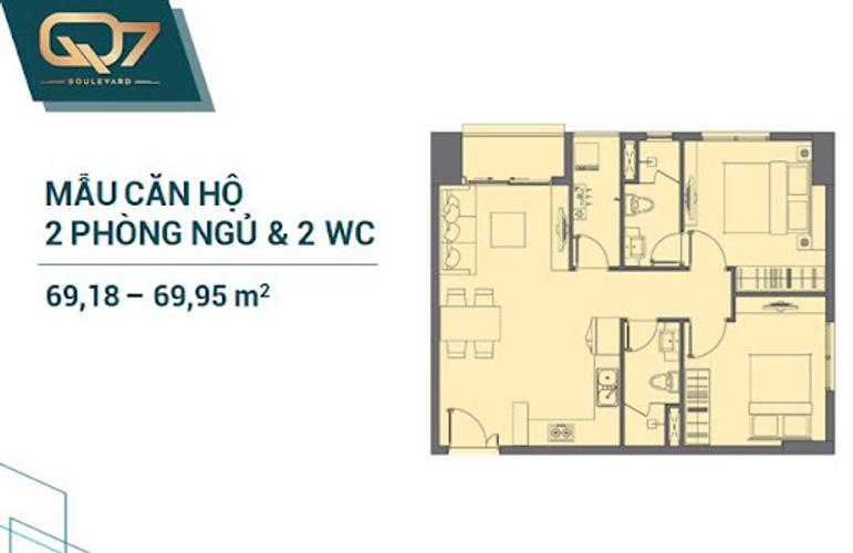 mặt bằng căn hộ Q7 Boulevard Căn hộ Q7 Boulevard tầng thấp, 2 phòng ngủ, diện tích 69m2