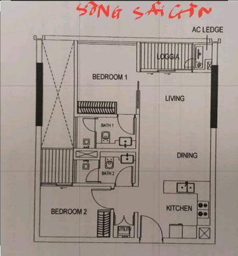 mặt bằng Căn hộ The Metropole Thủ Thiêm, Quận 2 Căn hộ The Metropole Thủ Thiêm tầng 3A có 2 phòng ngủ, nội thất cơ bản.