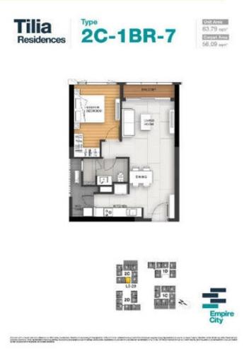 Layout căn hộ Empire City, Quận 2 Căn hộ Empire City tầng 21 diện tích 63.79m2, đầy đủ nội thất cao cấp.