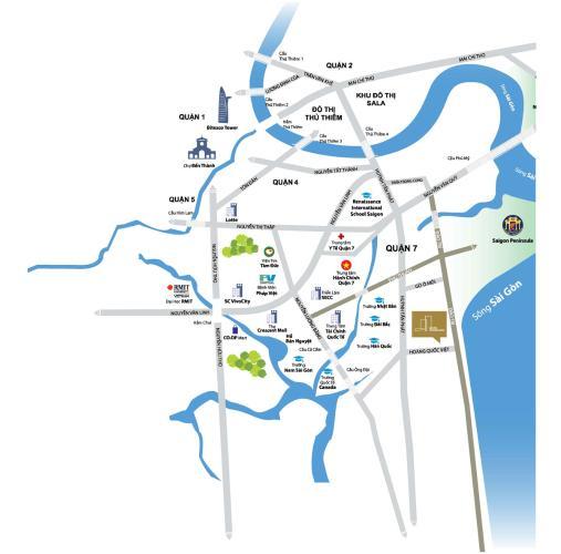 sơ đồ vị trí dự án căn hộ river panorama Căn hộ River Panorama thấp thấp, hướng Nam.