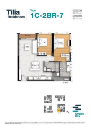 Layout căn hộ Empire City, Quận 2 Căn hộ Empire City tầng 20 thiết kế 2 phòng ngủ, đầy đủ nội thất.
