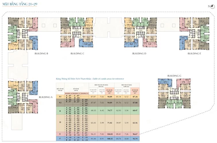 Mặt bằng dự án Căn hộ Saigon South Residences tầng 24 diện tích 104.03m2, đầy đủ nội thất.