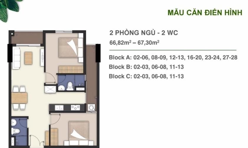 Layout căn hộ Lavita Charm, Quận Thủ Đức Căn hộ Lavita Charm tầng 11 diện tích 68m2, bàn giao nội thất cơ bản.