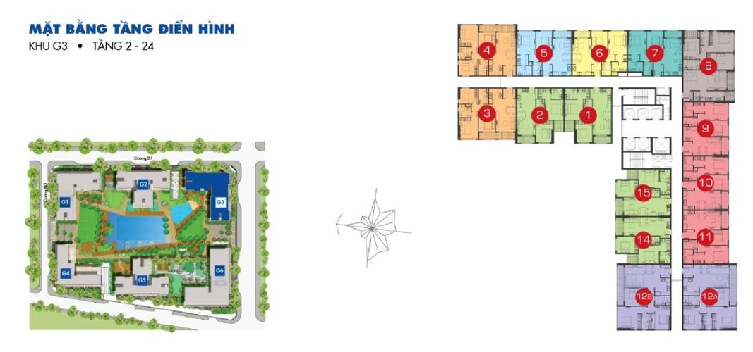 Mặt bằng block B Căn hộ Sunrise Riverside tầng 3 diện tích 69.42m2, đầy đủ nội thất.
