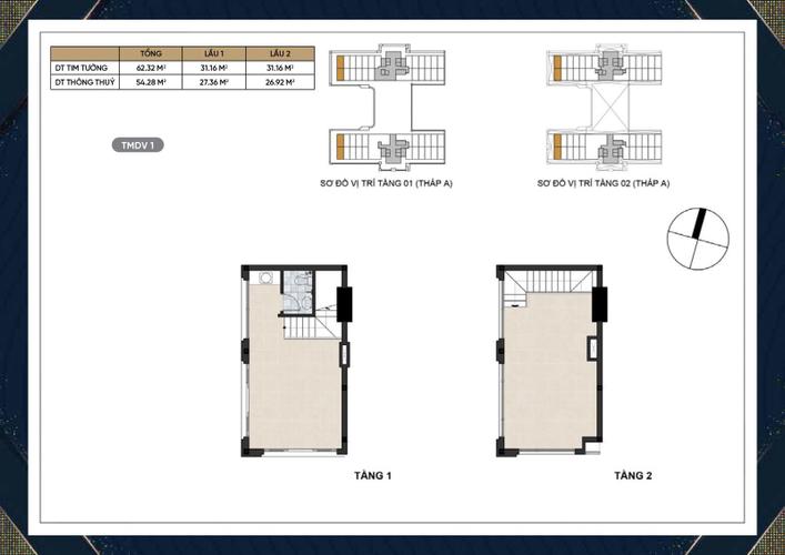 Shophouse Dream Home Residence tầng 1 diện tích 31.16m2, không có nội thất.