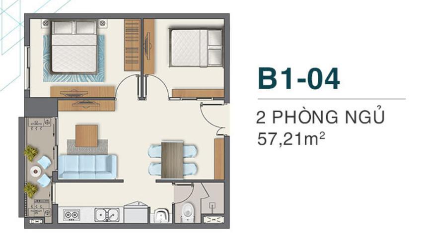 Layout Căn hộ Q7 Boulevard, Quận 7 Căn hộ Q7 Boulevard tầng 9 có 2 phòng ngủ, bàn giao nội thất cơ bản.