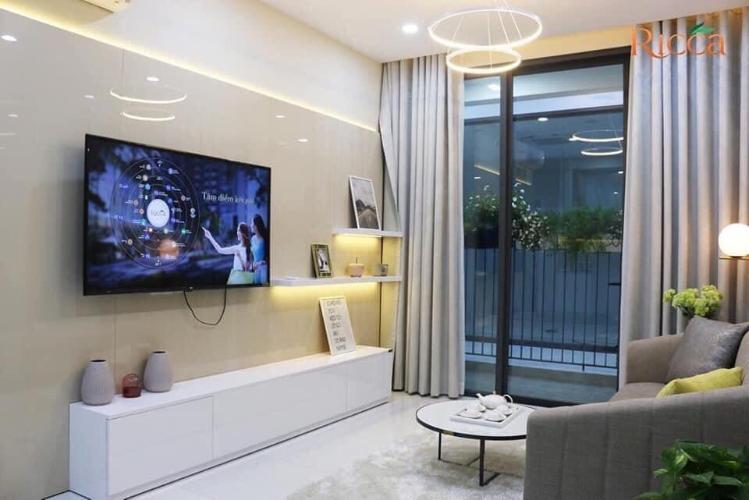 Phòng khách căn hộ Ricca Căn hộ Ricca nội thất cơ bản, thiết kế hiện đại, ban công thoáng mát.