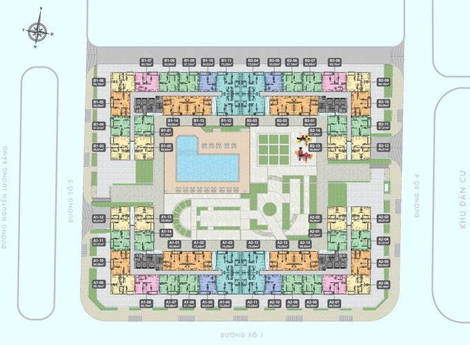 Mặt bằng chung căn hộ Q7 Boulevard, QUận 7 Căn hộ Q7 Boulevard tầng 17 diện tích 56.96m2, nội thất cơ bản.