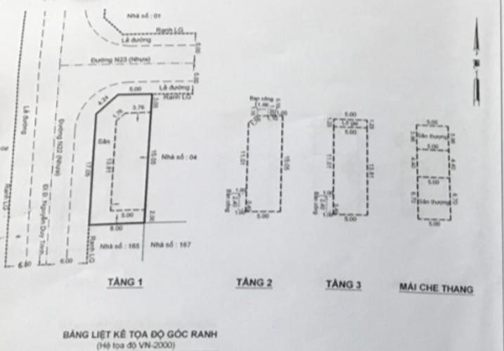 Bản vẽ nhà phố Quận 9 Nhà phố KĐT Đông Tăng Long kết cấu 1 trệt, 2 lầu và sân thượng, không nội thất.