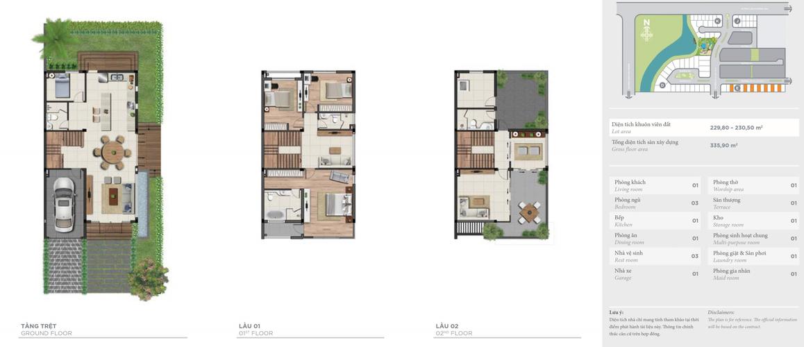 Layout biệt thự Quận 9 Biệt thự song lập Lucasta Villa tiện ích đầy đủ, diện tích lớn 230m2.