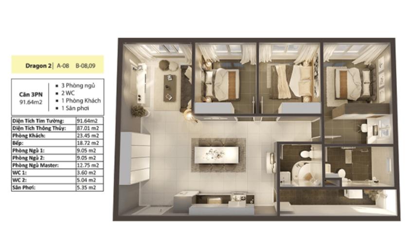 Layout căn hộ Topaz Elite, Quận 8 Căn hộ Topaz Elite tầng 15 diện tích 92m2, đầy đủ tiện ích.