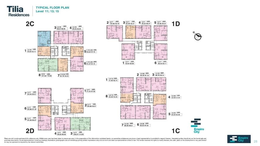 Mặt bằng chung căn hộ Empire City, Quận 2 Căn hộ Empire City tầng 15 thiết kế 1 phòng ngủ, cửa hướng Tây Bắc.