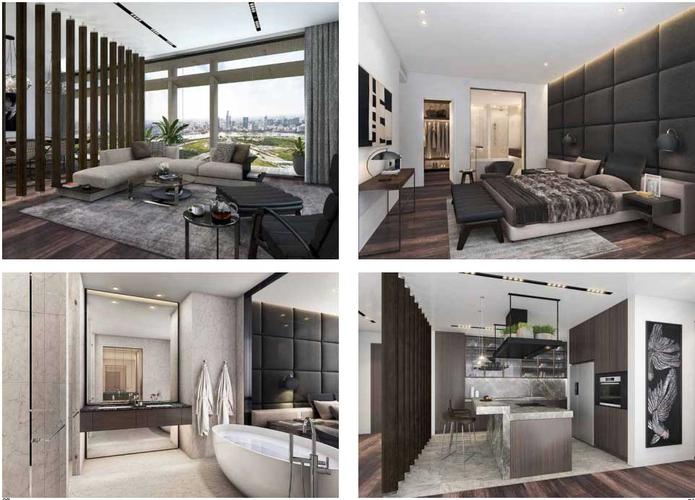 Nhà mẫu căn hộ Empire City, Quận 2 Căn hộ Empire City tầng 19 diện tích 127.3m2, bàn giao đầy đủ nội thất.