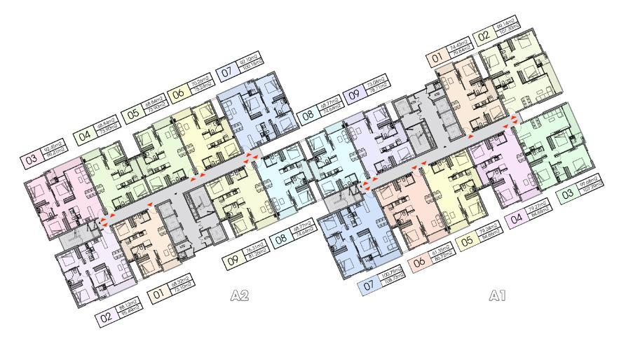 Layout tầng căn hộ Opal Boulevard, Huyện Dĩ An Căn hộ Opal Boulevard tầng 10 gồm 3 phòng ngủ, nội thất cơ bản.
